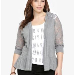 Torrid Grey Lace Hooded Peplum Top. Size 2.